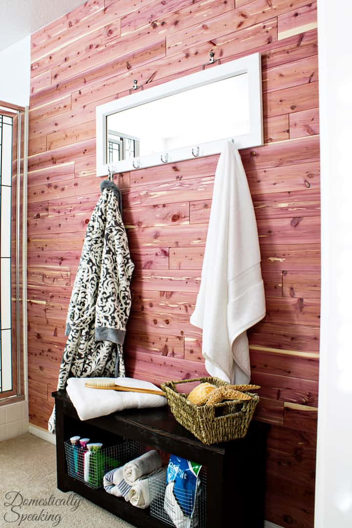 Cedar Planked Bathroom Wall