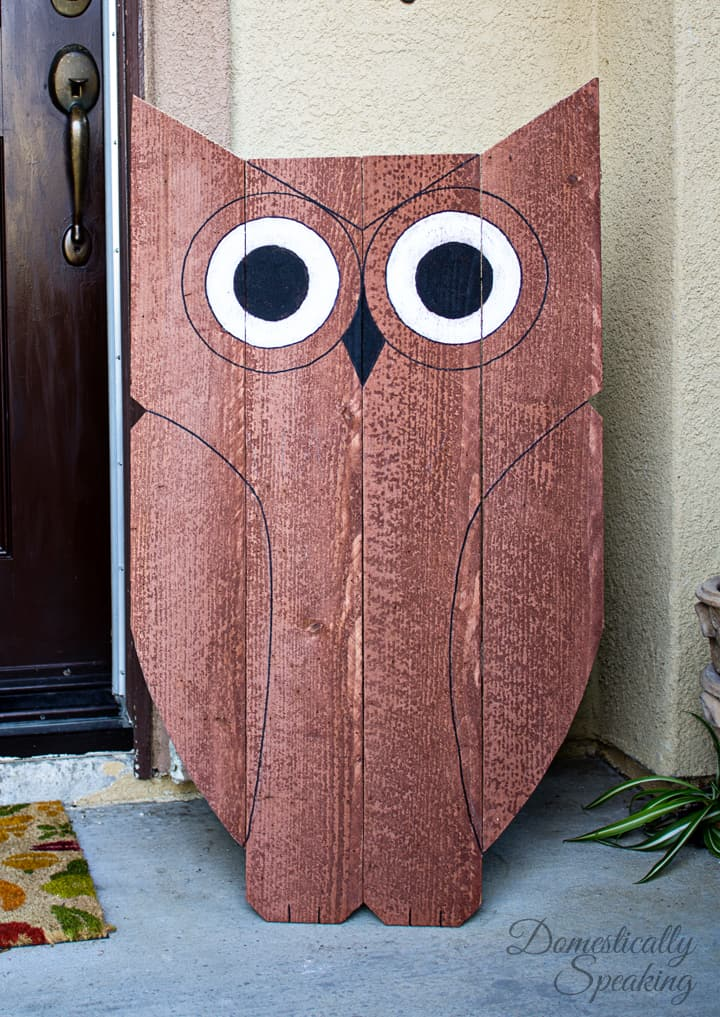 DIY Wood Owl Outdoor Decor Happy Owl O Ween Domestically Speaking