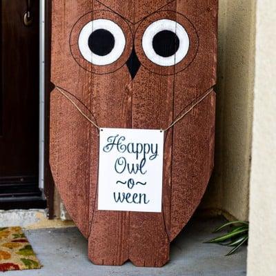 DIY Wood Owl Outdoor Decor  Happy Owl-o-ween