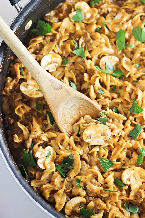 Easy-One-Pan-Beef-Stroganoff-Recipe from Home Cooking Memories