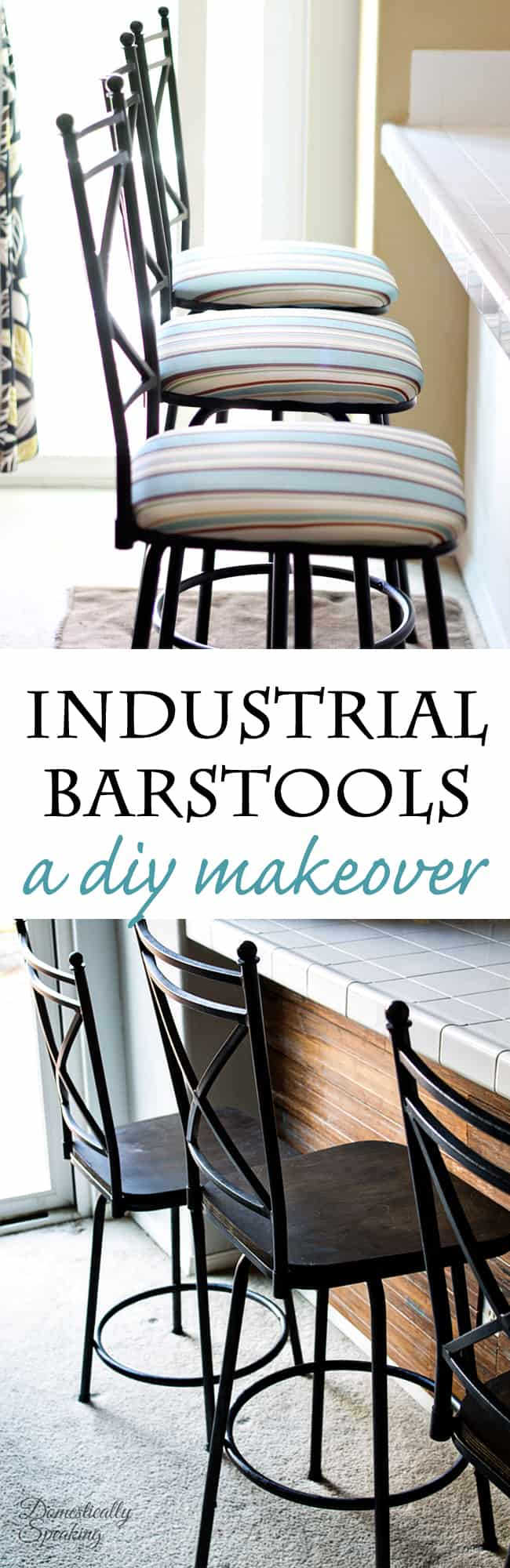 Industrial Barstool Makeover using stain and paint! It's easier than you think!