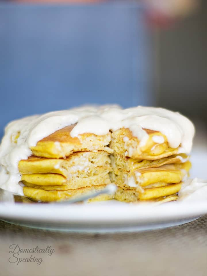 Pumpkin Spice Pancakes with Cream Cheese Maple Icing 1