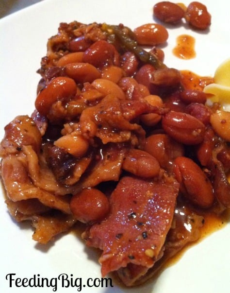 Slower Cooker Ranch Beans with Peppered Bacon from Feeding Big