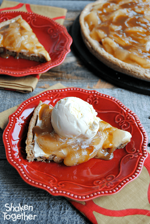 Snickerdoodle-caramel-apple-dessert-pizza from Shaken Together Life