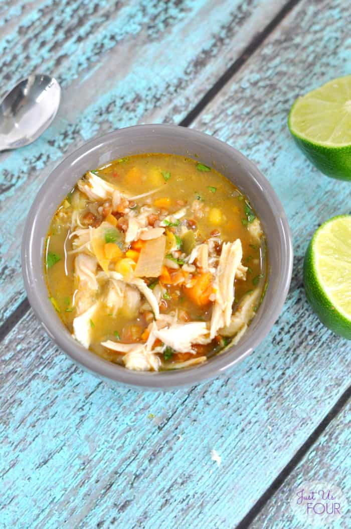 Zesty Chicken and Rice Soup from Just Us Four Blog