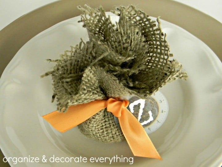 Burlap Bag Place Card from Organize Your Stuff Now