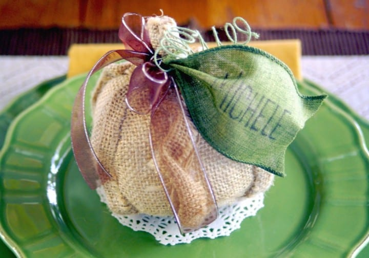 Burlap Pumpkin Place Cards from The Scrap Shoppe Blog