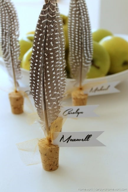 Cork & Feather Place Cards - homework