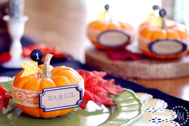 DIY-pumpkin and lace place cards from The Scrap Shoppe Blog