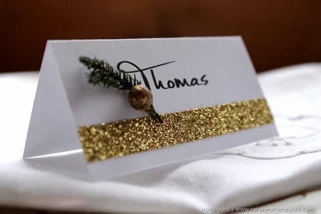 Easy Glitter Tape Place Cards via homework