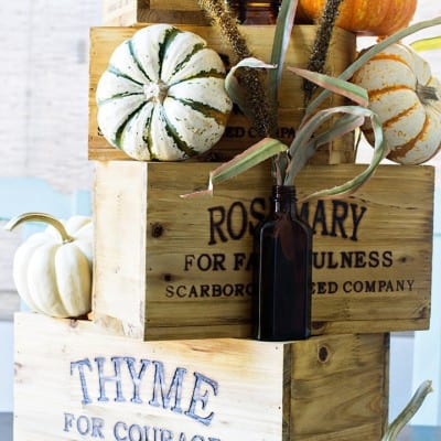 Easy Nesting Box Thanksgiving Centerpiece