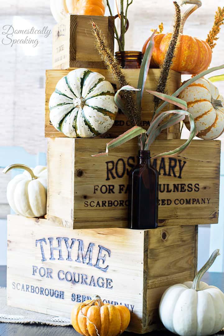 Easy Nesting Box Thanksgiving Centerpiece