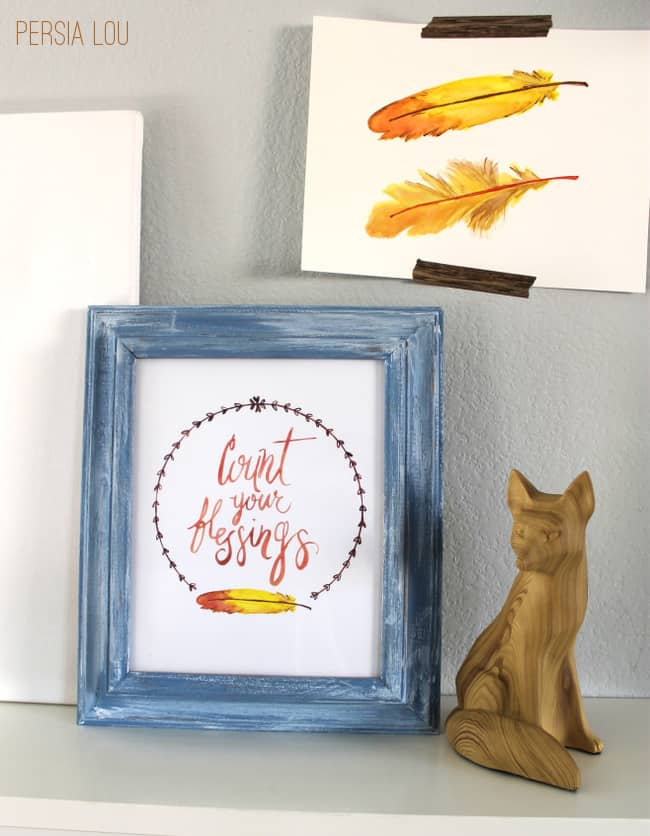 Free Count Your Blessings Watercolor Printable from Oh My Creative