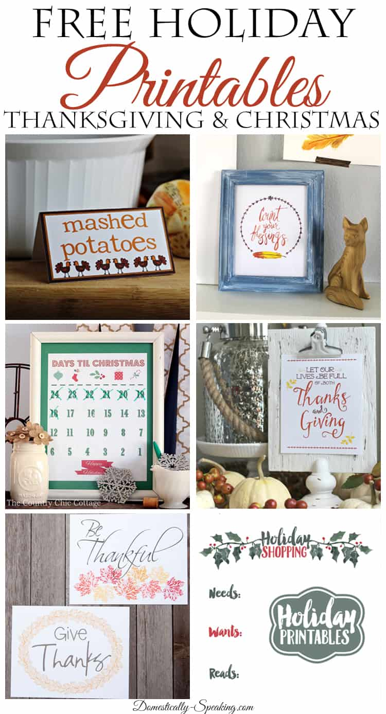 Free Holiday Printables Thanksgiving and Christmas