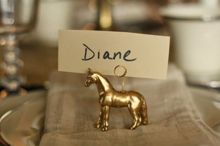 Golden Horse Place Card Holder from Primitive and Proper