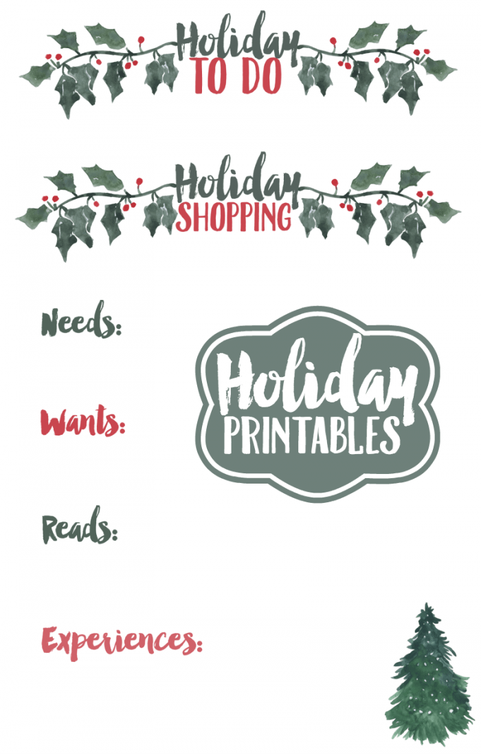 Holiday Shopping Printables from Krystals Kitsch