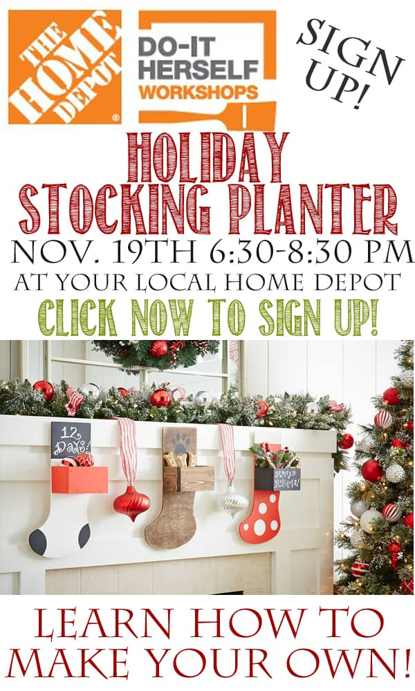 Home Depot DIH Workshop Holiday Stocking Planter