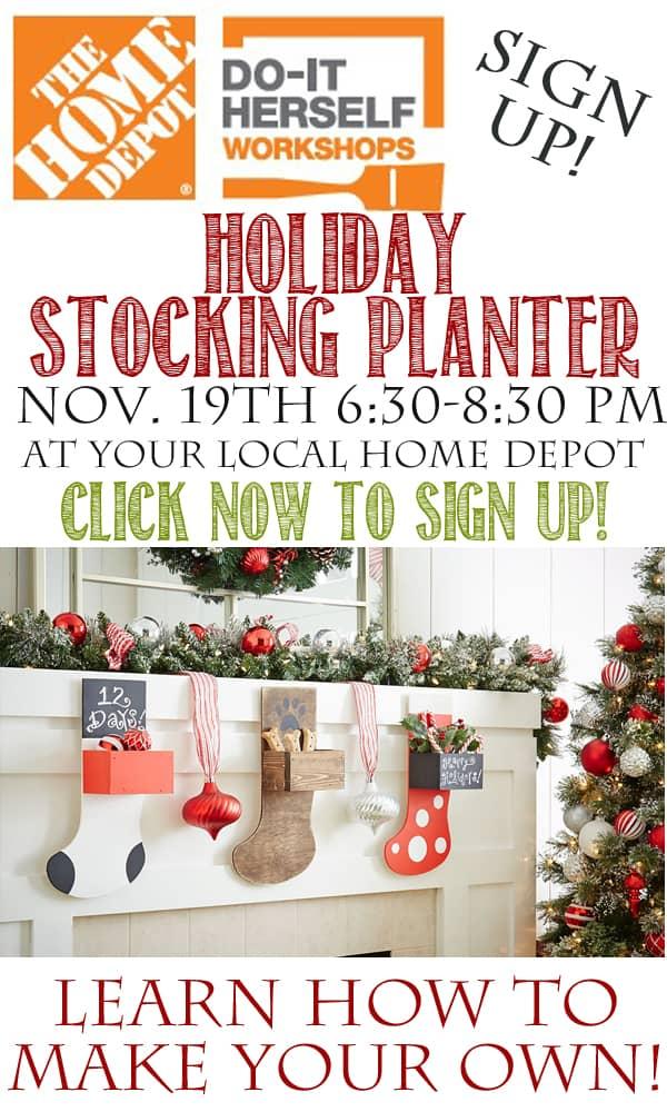 Home Depot DIH Workshop Holiday Stocking Planter