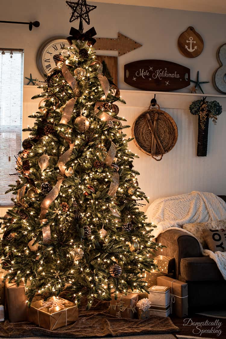 Rustic luxe christmas tree 12 bloggers of christmas with for Christmas tree mural