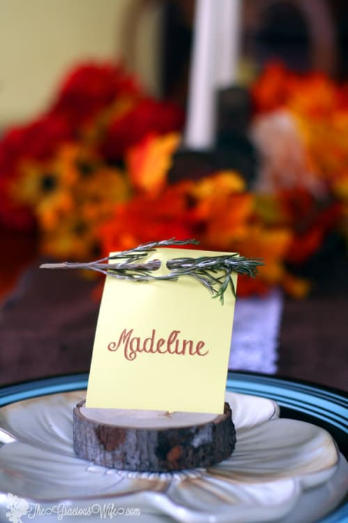 Rustic-Thanksgiving Place Card from The Gracious Wife