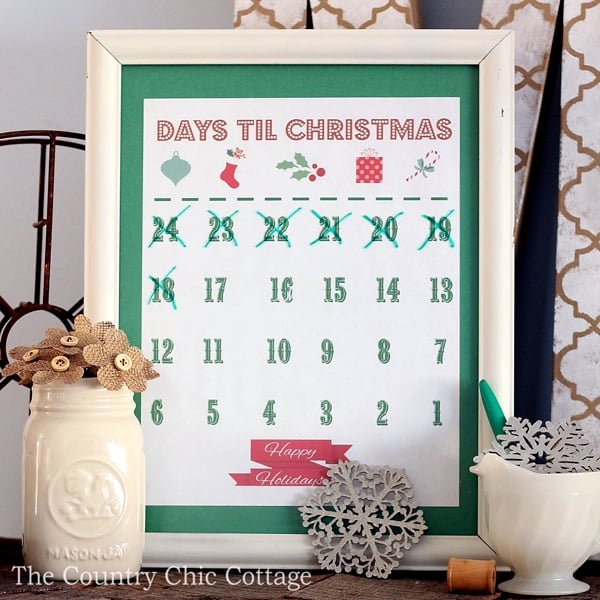 free-printable-christmas-countdown-calendar from The Country Chic Cottage
