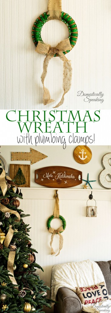 Industrial Clamp Christmas Wreath using plumbing clamps and paint