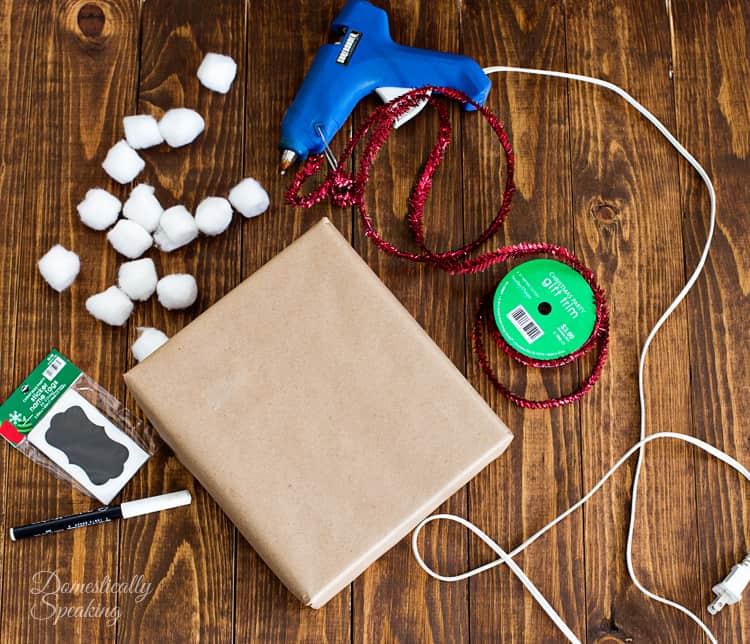 Easy Cotton Ball Christmas Tree Wrapping 1