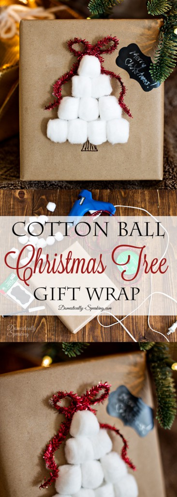 Easy Cotton Ball Christmas Tree Wrapping