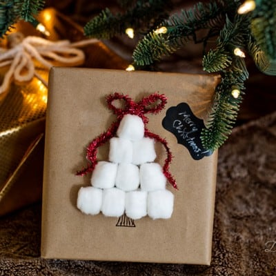 Easy Cotton Ball Christmas Tree Wrapping