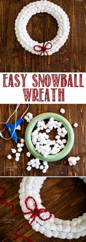 Easy Cotton Ball Snowball Christmas Wreath