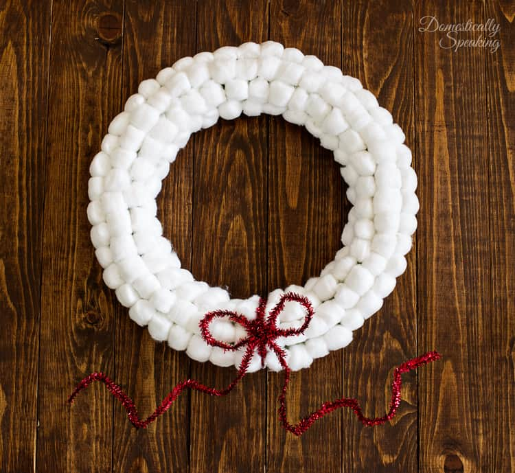 Easy Cotton Ball Christmas Snowball Wreath