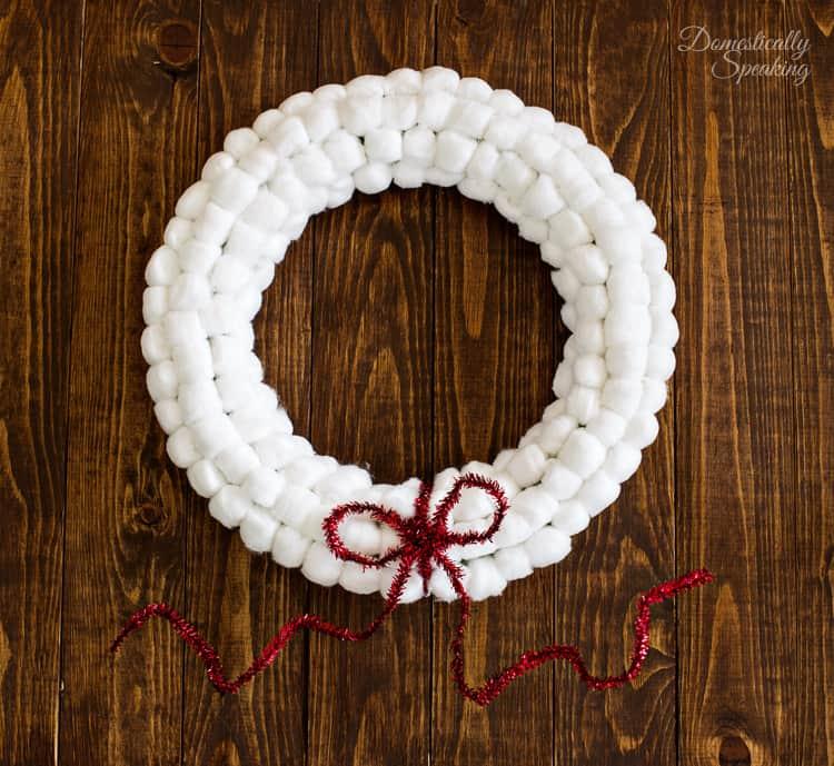 Easy Cotton Ball Christmas Snowball Wreath