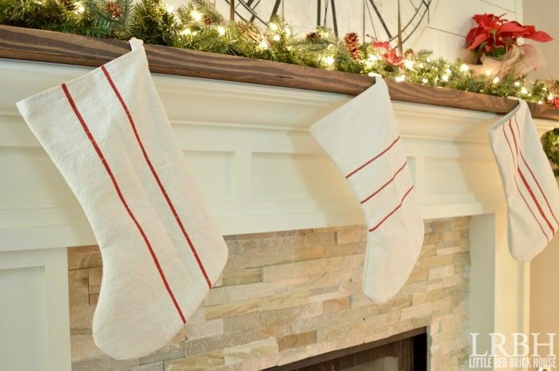 Drop Cloth Grain Sack Stockings   LITTLE RED BRICK HOUSE