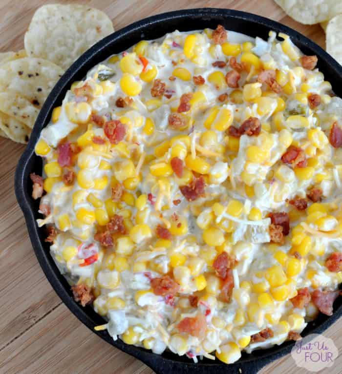Cheesy Bacon Corn Dip Recipe from Just Us Four