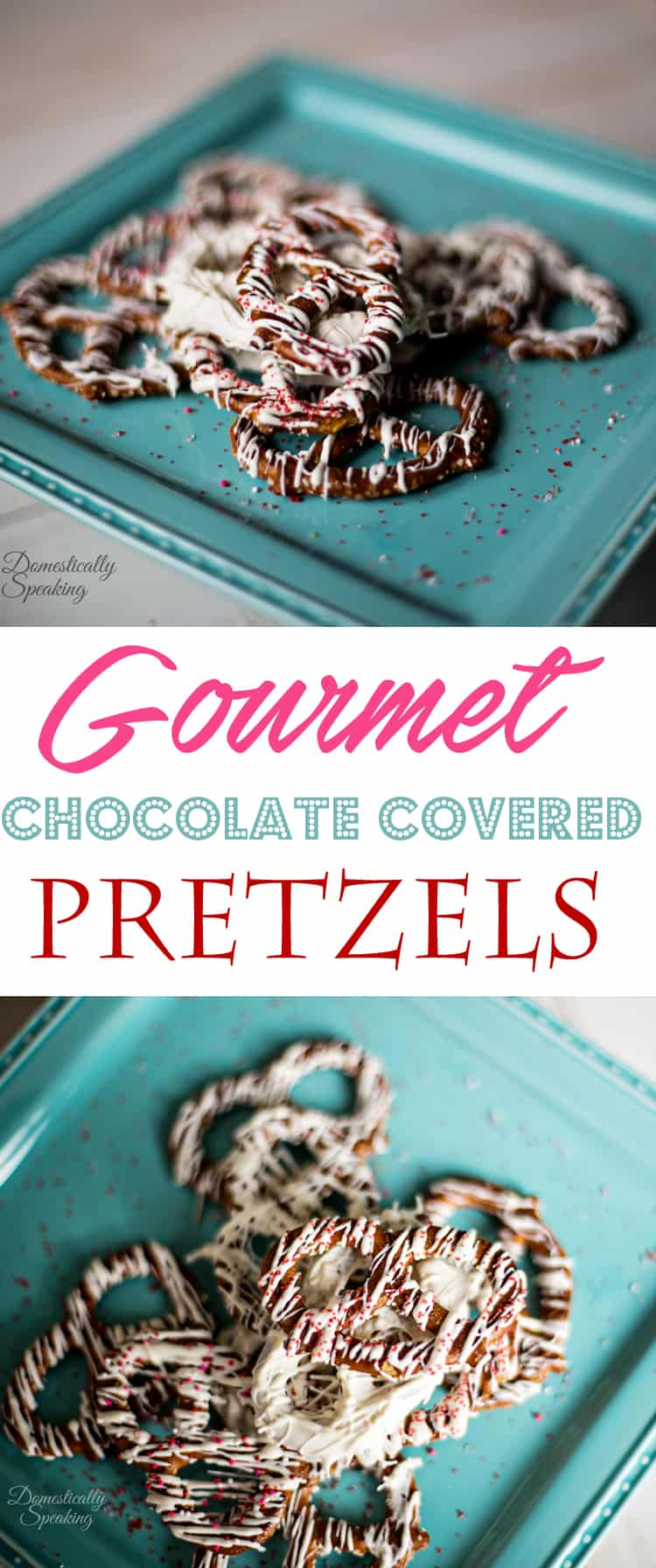 Gourmet Chocolate Covered Pretzels drizzled with chocolate and sprinkled with colored sugar