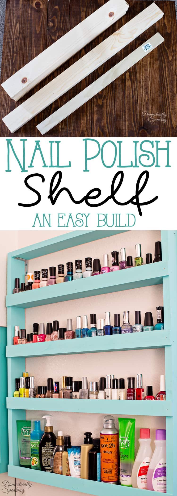 Nail Polish Shelf an Easy Build great way to organize your bathroom.