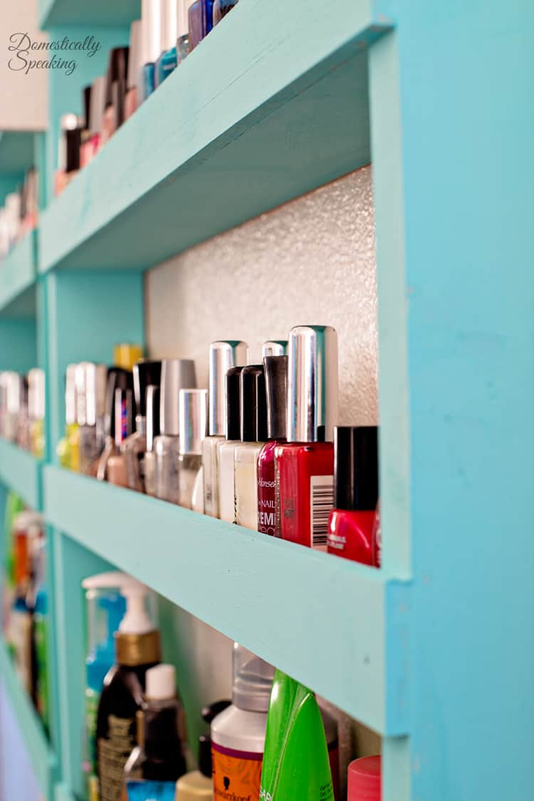 Bathroom Storage | Nail Polish Shelf - Domestically Speaking