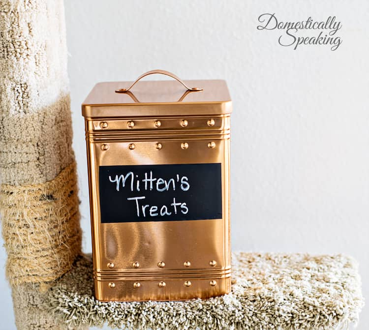 Pet Food Storage Bin from a Copper Cookie Tin
