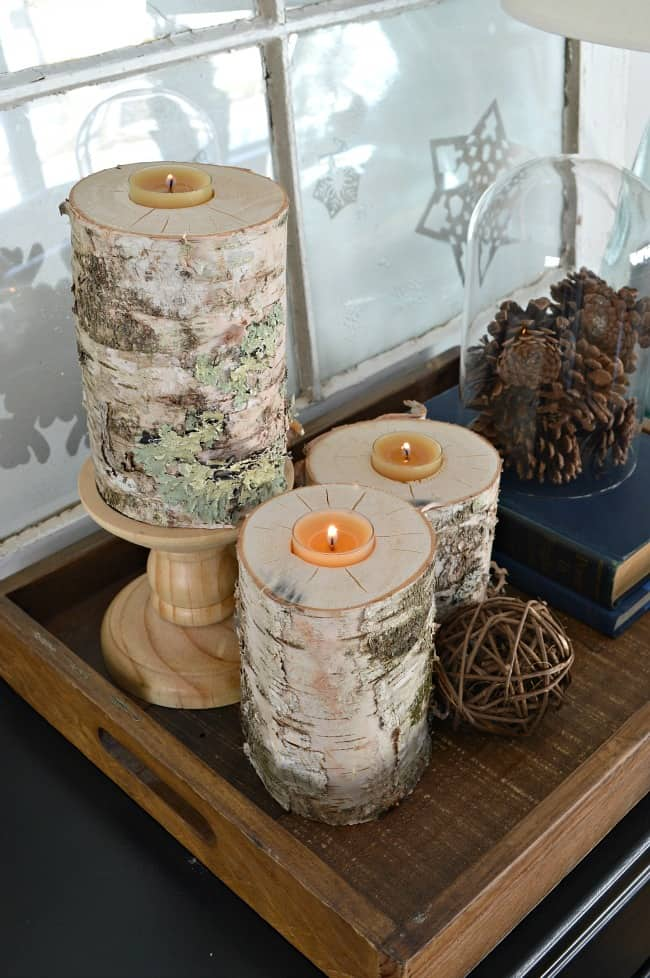 Rustic Wood Candle Holders from Chatfield Court