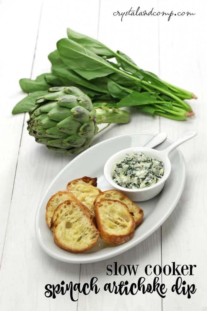 Slow Cooker Spinach Artichoke Dip from Crystal and Comp