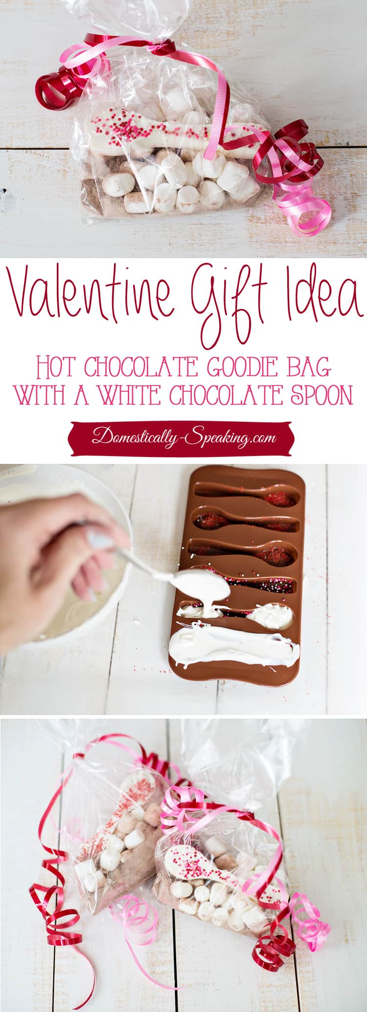 Valentine Gift Idea Hot Chocolate Gift Bag with White Chocolate Spoons with Sprinkles and mini Marshmallows
