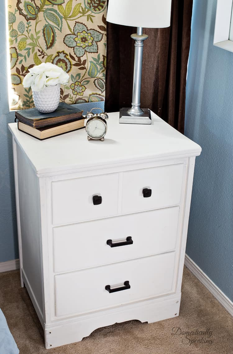 White Chalk Painted Nightstand that use to be a desk