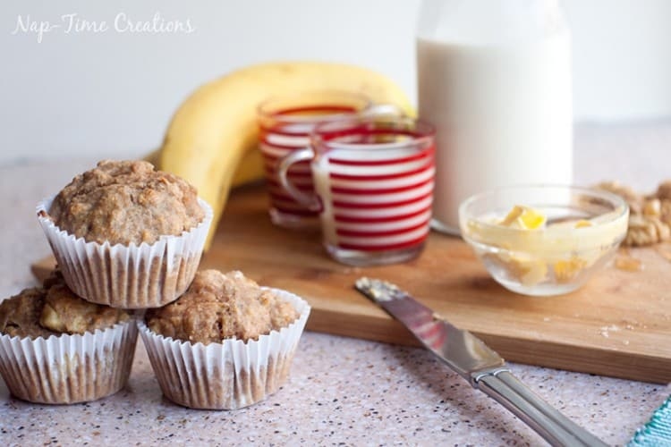 Whole-Wheat-Banana-muffins-with-peanut-powder from Nap-time Creations