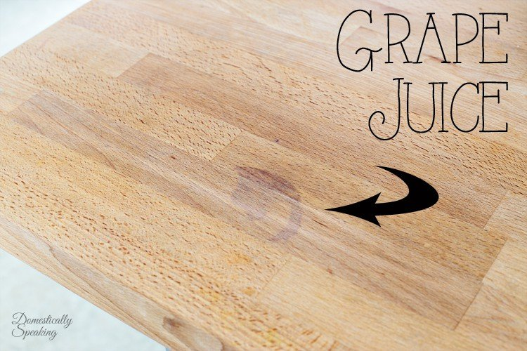 Grape Juice Stain on Butcher Block