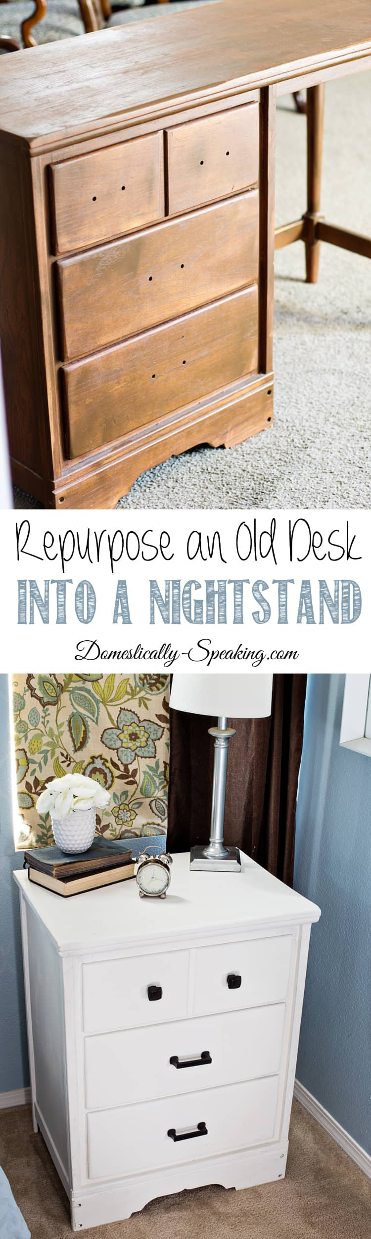 Repurpose an Old Desk into a Updated Nightstand