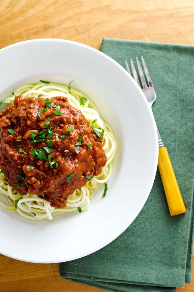 crock-pot-turkey-bolognese-zucchini-noodles from Cook Eat Paloe