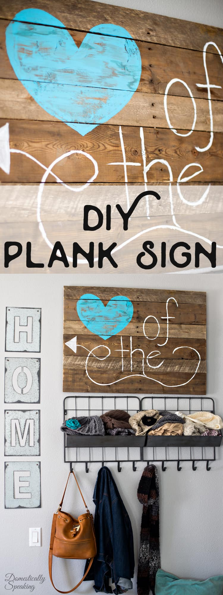 DIY Kitchen Pallet Sign with a Teal Blue Heart a Heart of the Home Sign