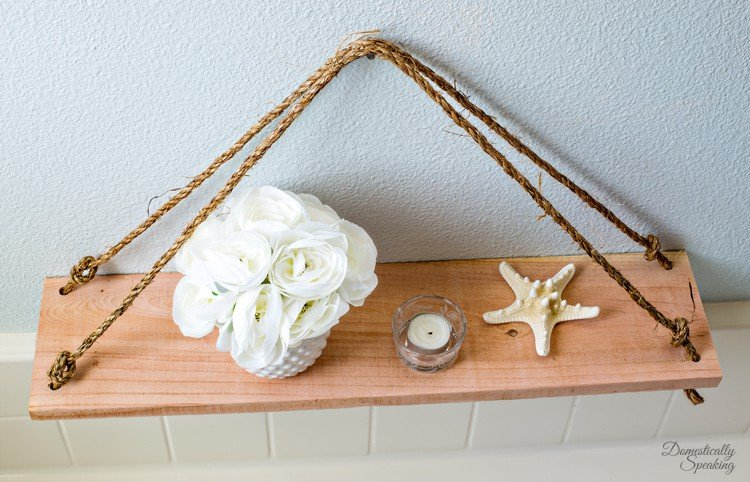 DIY Swing Shelf made with cedar and rope