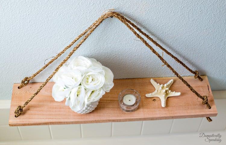 DIY Swing Shelf made with cedar and rope