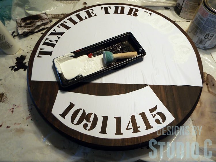 Adding a stencil to the top of your rope spool side table